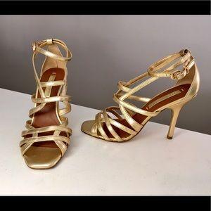 BCBG MaxAzria Gold Strappy Leather Heels Size 7